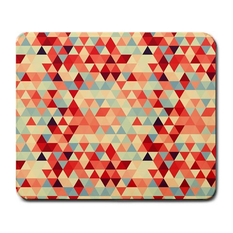 Modern Hipster Triangle Pattern Red Blue Beige Large Mousepads