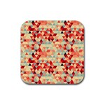 Modern Hipster Triangle Pattern Red Blue Beige Rubber Coaster (Square)  Front