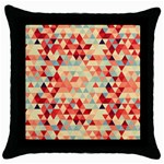 Modern Hipster Triangle Pattern Red Blue Beige Throw Pillow Case (Black) Front