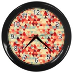 Modern Hipster Triangle Pattern Red Blue Beige Wall Clocks (Black) Front