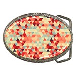 Modern Hipster Triangle Pattern Red Blue Beige Belt Buckles Front