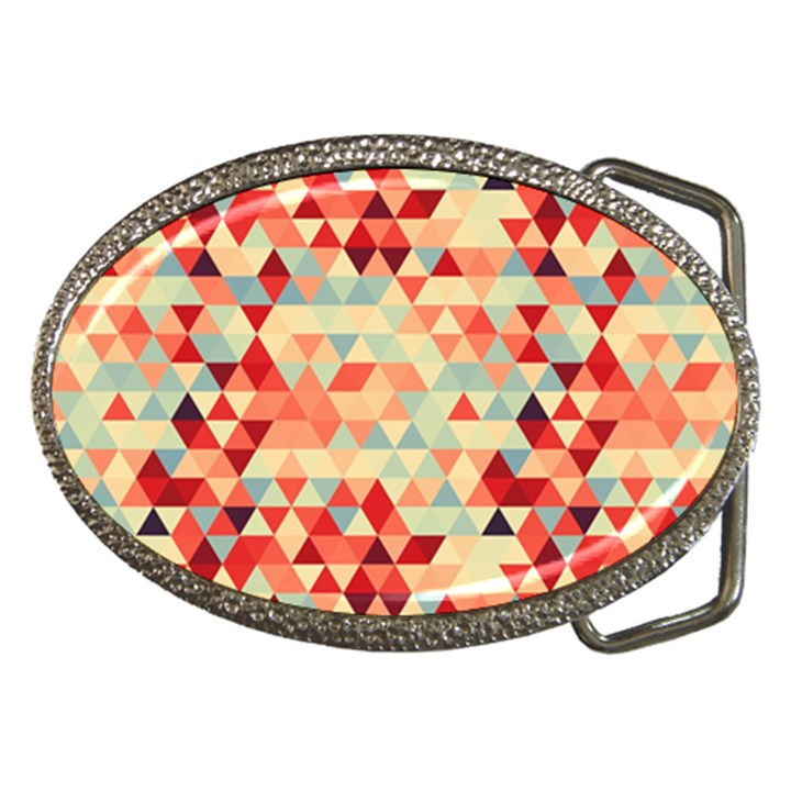 Modern Hipster Triangle Pattern Red Blue Beige Belt Buckles