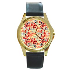 Modern Hipster Triangle Pattern Red Blue Beige Round Gold Metal Watch