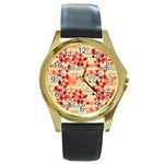 Modern Hipster Triangle Pattern Red Blue Beige Round Gold Metal Watch Front
