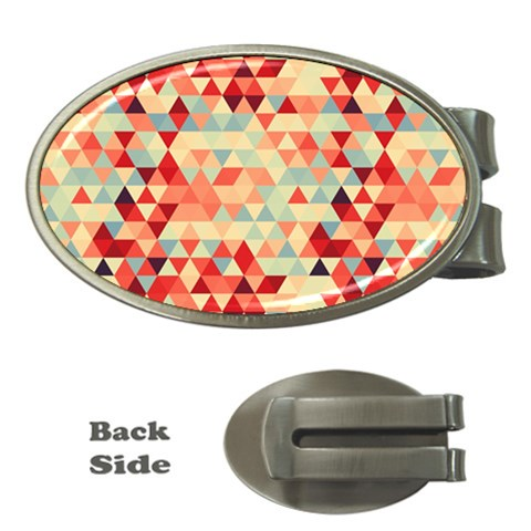 Modern Hipster Triangle Pattern Red Blue Beige Money Clips (Oval)