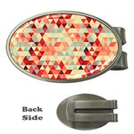 Modern Hipster Triangle Pattern Red Blue Beige Money Clips (Oval)  Front
