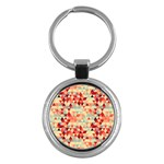 Modern Hipster Triangle Pattern Red Blue Beige Key Chains (Round)  Front