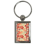 Modern Hipster Triangle Pattern Red Blue Beige Key Chains (Rectangle)  Front