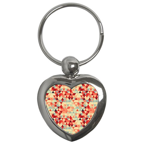 Modern Hipster Triangle Pattern Red Blue Beige Key Chains (Heart)