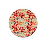 Modern Hipster Triangle Pattern Red Blue Beige Rubber Coaster (Round)  Front