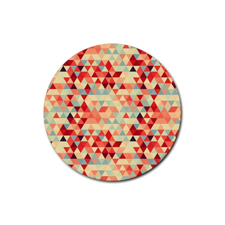 Modern Hipster Triangle Pattern Red Blue Beige Rubber Coaster (Round)