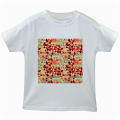Modern Hipster Triangle Pattern Red Blue Beige Kids White T Shirts