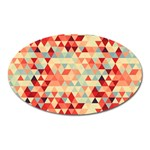 Modern Hipster Triangle Pattern Red Blue Beige Oval Magnet Front