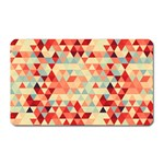 Modern Hipster Triangle Pattern Red Blue Beige Magnet (Rectangular) Front
