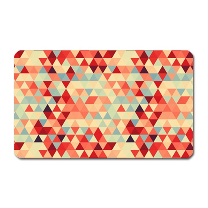 Modern Hipster Triangle Pattern Red Blue Beige Magnet (Rectangular)