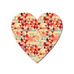 Modern Hipster Triangle Pattern Red Blue Beige Heart Magnet Front