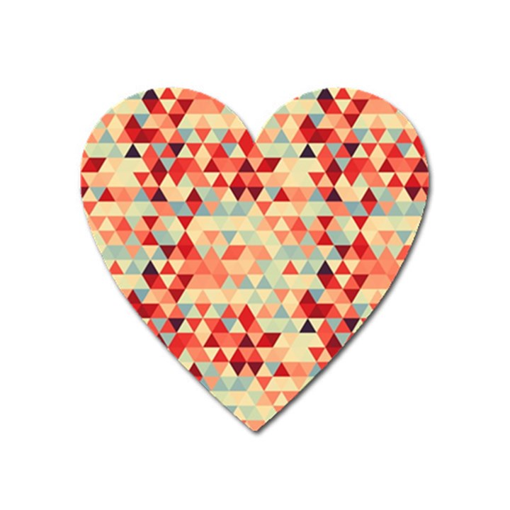Modern Hipster Triangle Pattern Red Blue Beige Heart Magnet