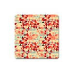 Modern Hipster Triangle Pattern Red Blue Beige Square Magnet Front