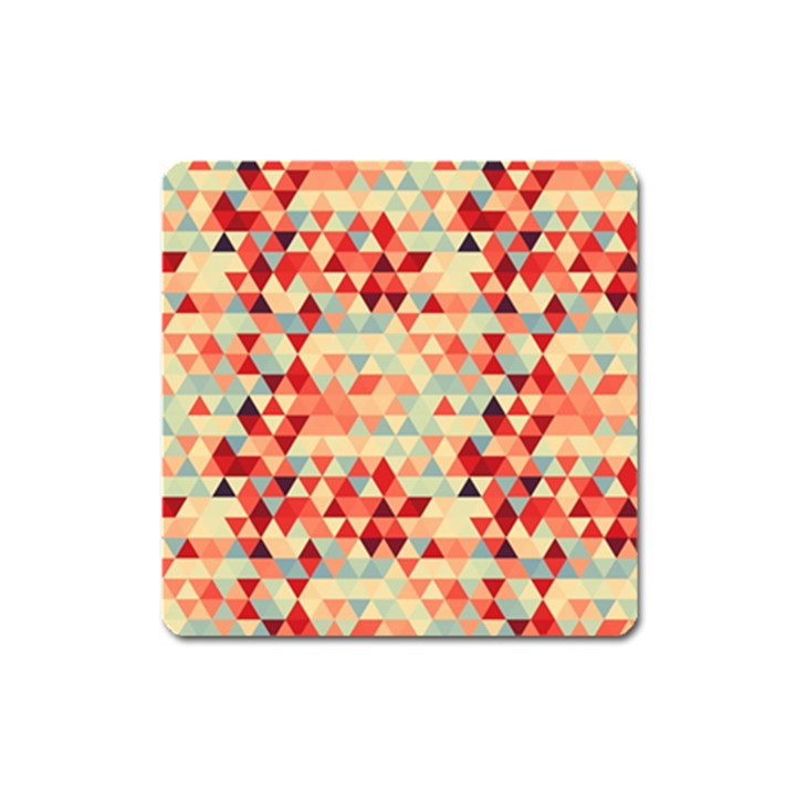 Modern Hipster Triangle Pattern Red Blue Beige Square Magnet