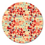 Modern Hipster Triangle Pattern Red Blue Beige Magnet 5  (Round) Front