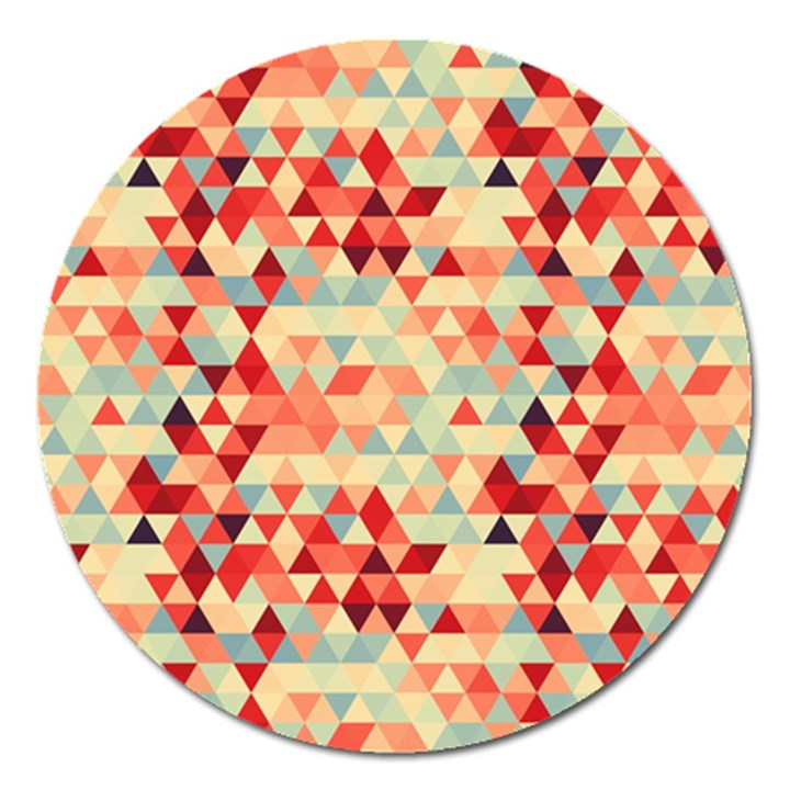 Modern Hipster Triangle Pattern Red Blue Beige Magnet 5  (Round)