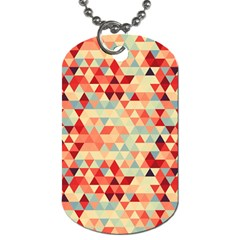 Modern Hipster Triangle Pattern Red Blue Beige Dog Tag (One Side)