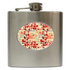 Modern Hipster Triangle Pattern Red Blue Beige Hip Flask (6 oz)