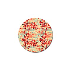 Modern Hipster Triangle Pattern Red Blue Beige Golf Ball Marker