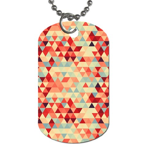 Modern Hipster Triangle Pattern Red Blue Beige Dog Tag (Two Sides)