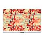 Modern Hipster Triangle Pattern Red Blue Beige Business Card Holders Front