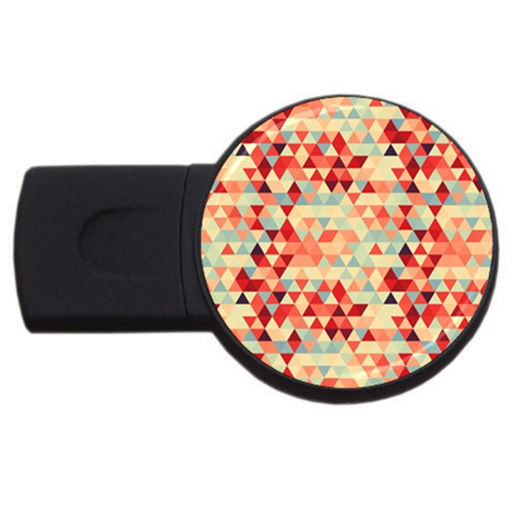 Modern Hipster Triangle Pattern Red Blue Beige USB Flash Drive Round (2 GB)