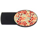 Modern Hipster Triangle Pattern Red Blue Beige USB Flash Drive Oval (2 GB)  Front
