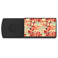 Modern Hipster Triangle Pattern Red Blue Beige USB Flash Drive Rectangular (2 GB)