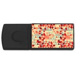 Modern Hipster Triangle Pattern Red Blue Beige USB Flash Drive Rectangular (1 GB)  Front