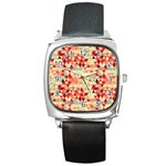 Modern Hipster Triangle Pattern Red Blue Beige Square Metal Watch Front