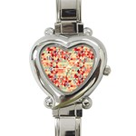 Modern Hipster Triangle Pattern Red Blue Beige Heart Italian Charm Watch Front
