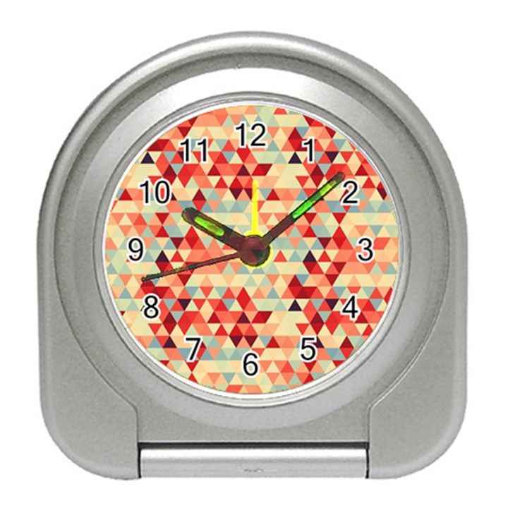 Modern Hipster Triangle Pattern Red Blue Beige Travel Alarm Clocks