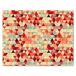 Modern Hipster Triangle Pattern Red Blue Beige Rectangular Jigsaw Puzzl Front