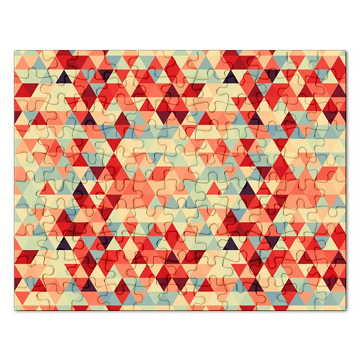 Modern Hipster Triangle Pattern Red Blue Beige Rectangular Jigsaw Puzzl