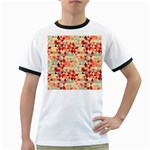 Modern Hipster Triangle Pattern Red Blue Beige Ringer T-Shirts Front