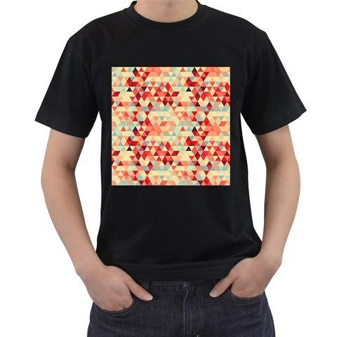 Modern Hipster Triangle Pattern Red Blue Beige Men s T-Shirt (Black) (Two Sided)