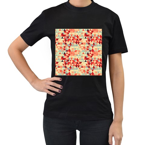 Modern Hipster Triangle Pattern Red Blue Beige Women s T-Shirt (Black) (Two Sided)