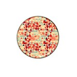 Modern Hipster Triangle Pattern Red Blue Beige Hat Clip Ball Marker Front