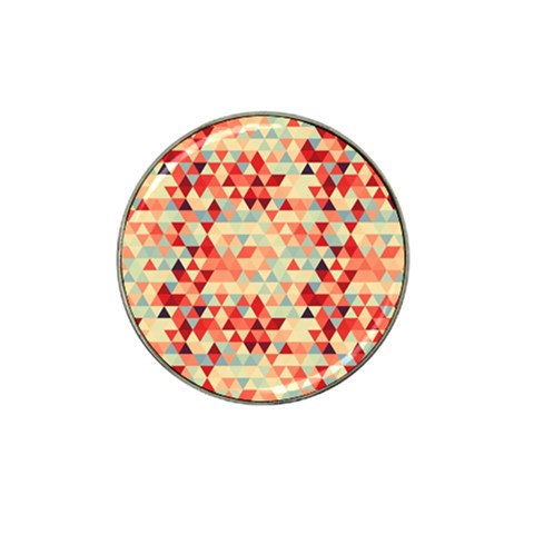 Modern Hipster Triangle Pattern Red Blue Beige Hat Clip Ball Marker (4 pack)