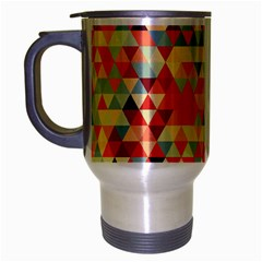 Modern Hipster Triangle Pattern Red Blue Beige Travel Mug (Silver Gray)