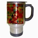 Modern Hipster Triangle Pattern Red Blue Beige Travel Mug (Silver Gray) Right