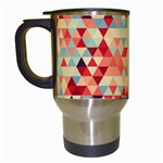 Modern Hipster Triangle Pattern Red Blue Beige Travel Mugs (White) Left