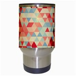 Modern Hipster Triangle Pattern Red Blue Beige Travel Mugs (White) Center