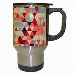 Modern Hipster Triangle Pattern Red Blue Beige Travel Mugs (White) Right