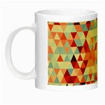 Modern Hipster Triangle Pattern Red Blue Beige Night Luminous Mugs Left